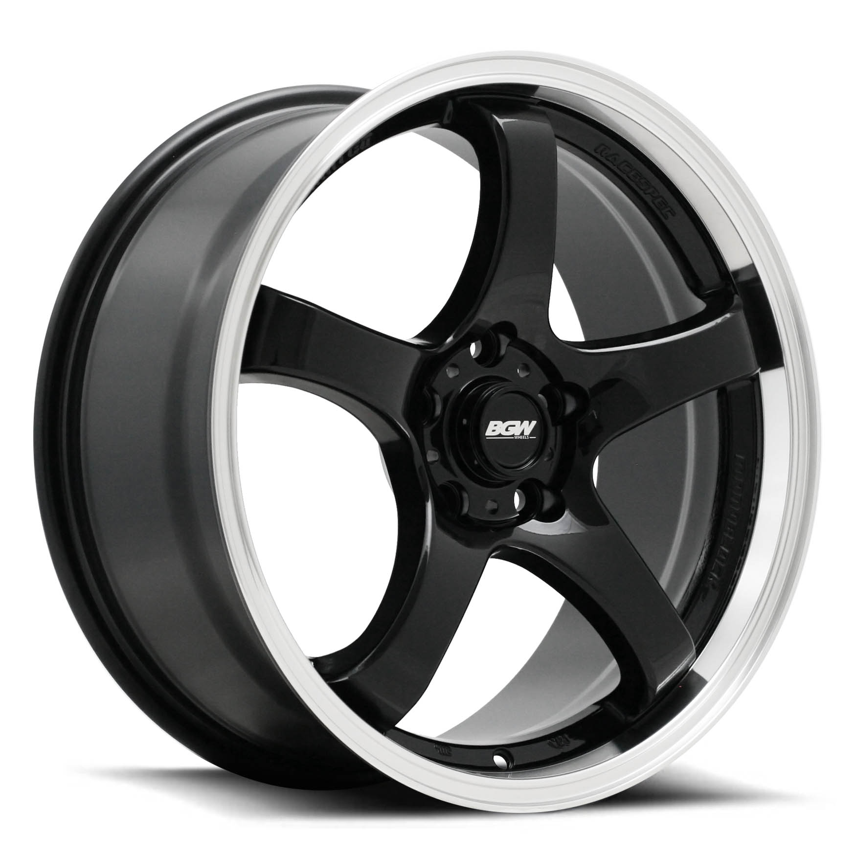 BGW Fury - Gloss Black with Machined Lip - 18 inch - 2